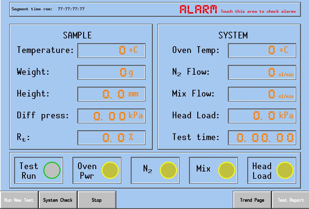 RUL Test System Screen